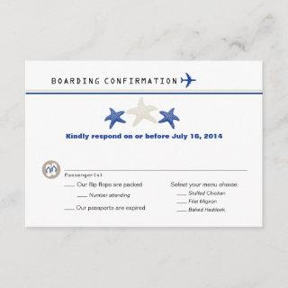 Tan Royal Blue Starfish Boarding Pass RSVP