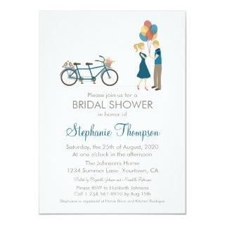 Tandem Bicycle Bridal Shower Invitations