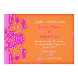 Tangerine and Flaming Rose Modern Wedding Invites