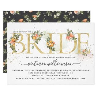 Tangerine Citrus and Gold Floral Bridal Shower Invitations