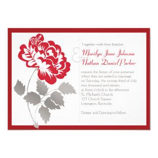 Taupe, Red Peony on White Wedding Invitation