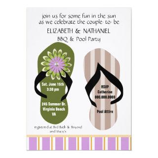 (TBA)Flippin Out Couples Wedding Shower Pool Party Invitation