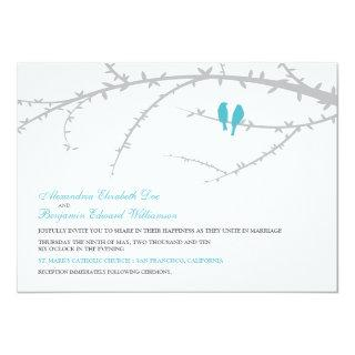 {TBA} Love Birds Wedding Invitation (aqua)