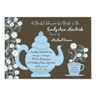 Tea Party Bridal Shower Blue and Brown Invitation