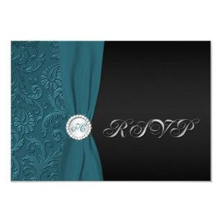Teal and Black Damask Monogrammed RSVP Card