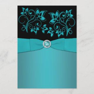 Teal and Black Floral Jewelled Wedding
