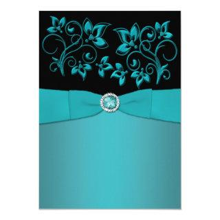 Teal and Black Floral Jewelled Wedding Invitations