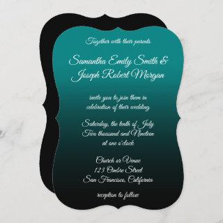 Teal and Black Ombre Elegant Calligraphy Wedding Invitation