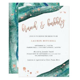 Teal and Faux Rose Gold Geode Brunch and Bubbly Invitation