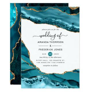 Teal and Gold Agate Wedding Invitations