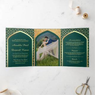 Teal and Gold Bollywood Style Indian Wedding Tri-Fold Invitation