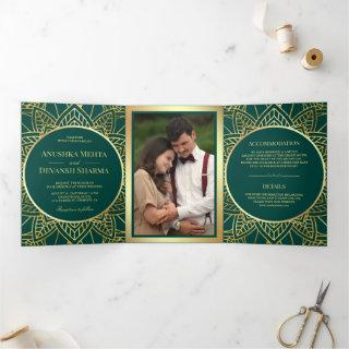 Teal and Gold Ethnic Mandala Indian Wedding Tri-Fold Invitations