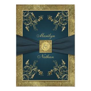 Teal and Gold Floral Monogram Wedding Invitations