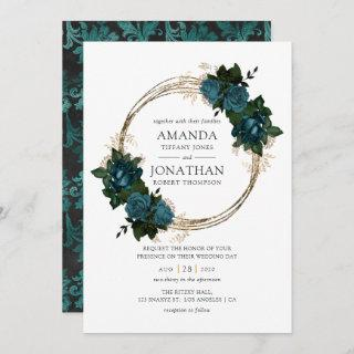 Teal and Gold Floral Wedding Invitations