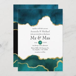 Teal and Gold Geode Agate Stone Wedding