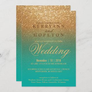Teal and Gold Glitter Invitation