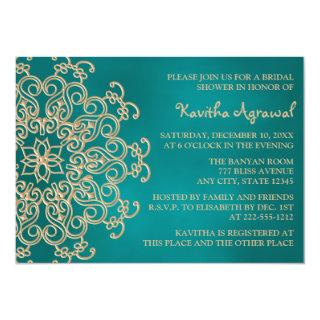 Teal and Gold Indian Inspired Bridal Shower Invitations