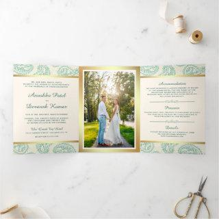 Teal and Gold Paisley Indian Style Wedding Photo Tri-Fold Invitations