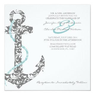 Teal and Gray Anchor Beach Wedding Invitations