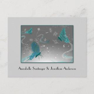 Teal and Gray Butterflies Save The Date Announcement Postcard