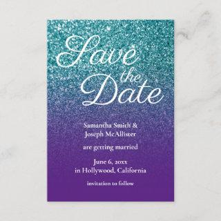 Teal and Purple Ombre Glitter Save the Date Invitations
