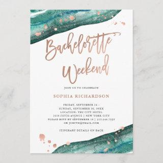 Teal and Rose Gold Geode Bachelorette Weekend Invitations