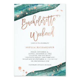 Teal and Rose Gold Geode Bachelorette Weekend Invitation