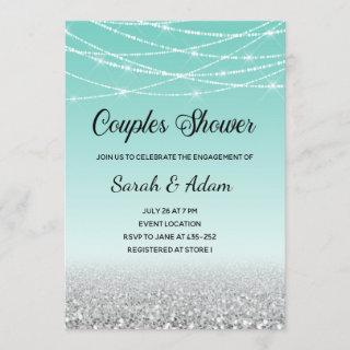 Teal and Silver Glitter Couples Shower Invitation