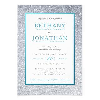 Teal and Silver Glitter Wedding Invitations