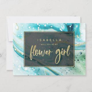 Teal Aqua Marble Will You Be My Flower Girl Card