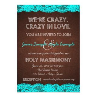 Teal Blue and Brown Wedding Invitation