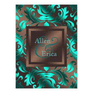 Teal Blue and Chocolate Brown Wedding Invitation