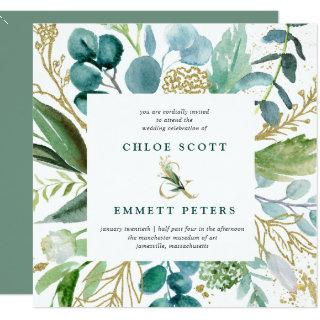 Teal Blue and Gold Botanical Square Wedding Invitations
