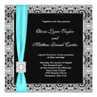 Teal Blue Black and Silver Wedding Invitation