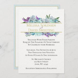 Teal Blue Bouquet Tradition Wedding Suite Ceremony Invitations