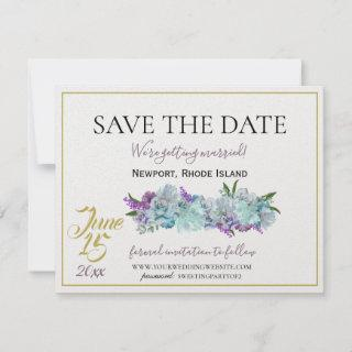 Teal Blue Bouquet Traditional Wedding Suite Save The Date