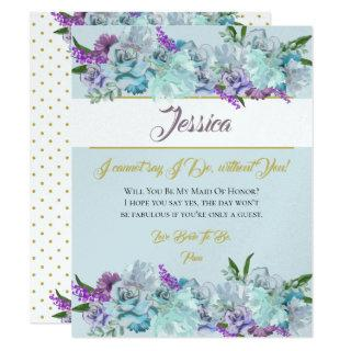 Teal Blue Bouquet Wedding Suite Be My Bridesmaid Invitations