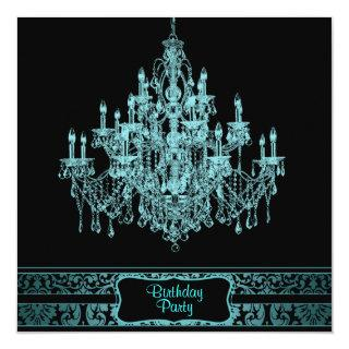Teal Blue Chandelier Womans Any Number Birthday Pa Invitation