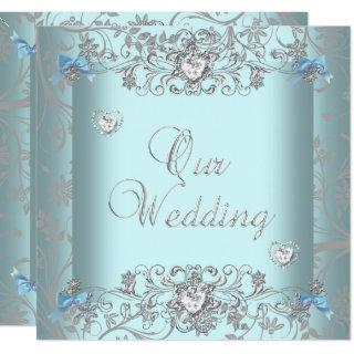Teal Blue Damask Wedding Silver Diamond Hearts Invitations