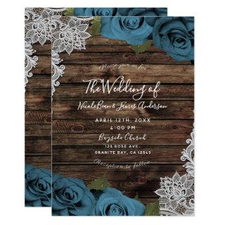 Teal Blue Floral Roses Rustic Wood Lace Wedding Invitations