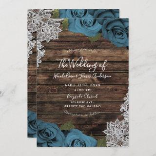 Teal Blue Floral Roses Rustic Wood Lace Wedding Invitation
