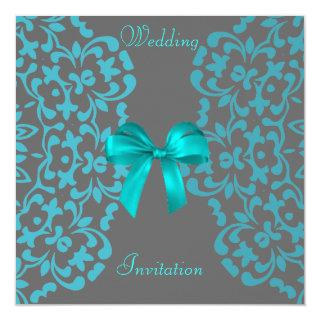 Teal Blue Gray Pretty Lace Wedding Invitations