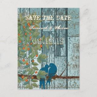 Teal Blue Love Bird Sitting in Tree Save the Date Announcement Postcard