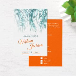 Teal blue orange tropical palm wedding meal option