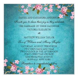 Teal Blue Pink Japanese Cherry Blossoms Wedding Invitations