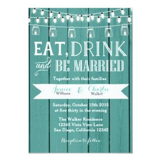 Teal Blue Rustic Wood Wedding Invitation