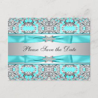 Teal Blue Silver Save The Date Announcement Postcard