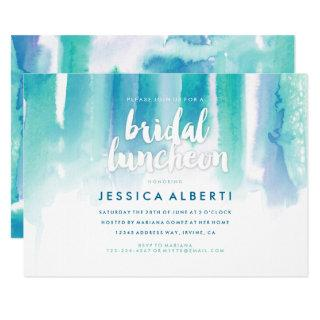 Teal Blue Watercolor Bridal Luncheon Invitations