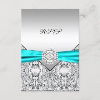 Teal Blue Wedding RSVP