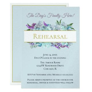 Teal Bouquet Rustic Wedding Suite Rehearsal Party Invitations